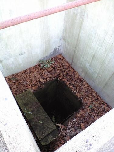 本堂裏にあるが木棺が掘り出された後の穴