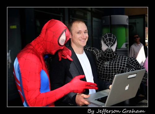 Animoto CEO Brad Jefferson & Spidermen by Jefferson Graham