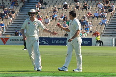 Douggie Bollinger and Mitchell Johnson having fun