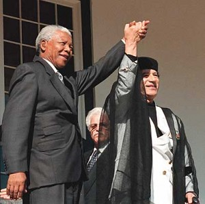 Former African National Congress leader and first president of a non-racial, democratic South Africa, Nelson Mandela, with Libyan Leader of the Revolution Muammar Gaddafi. Libya is longtime supporter of Southern Africa. by Pan-African News Wire File Photos
