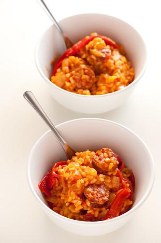 spanish rice with chorizo & pimentos