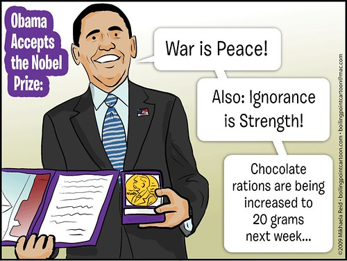 Obama Nobel prize, cartoon by Mikhaela
