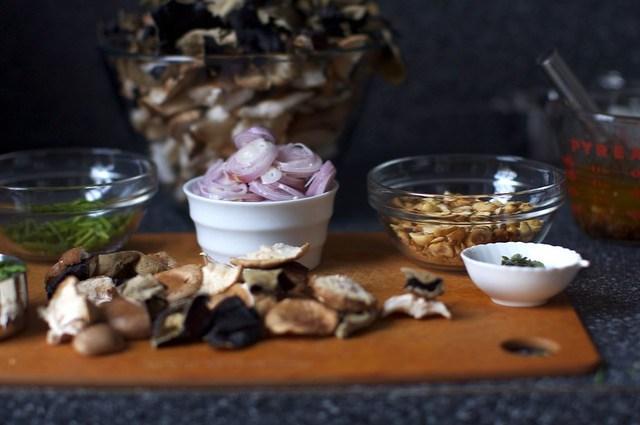 chives, shallots, hazelnuts, mushrooms