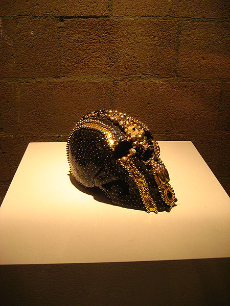 "Very awesome beaded skull! part of the exhibit at ""In Bed Together"""