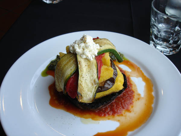 Kitschen (Canberra) - Vegetable stack with polenta wedges, pesto, napoletana sauce and Bulgarian fetta.