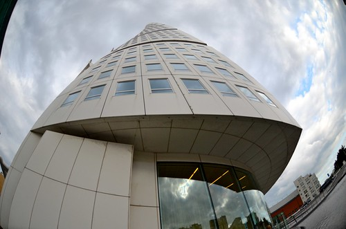 Looking up at the Turning Torso (fisheye by Kalexanderson, on Flickr
