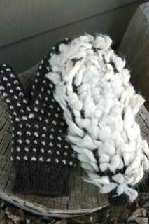 Crochet thrummed mittens