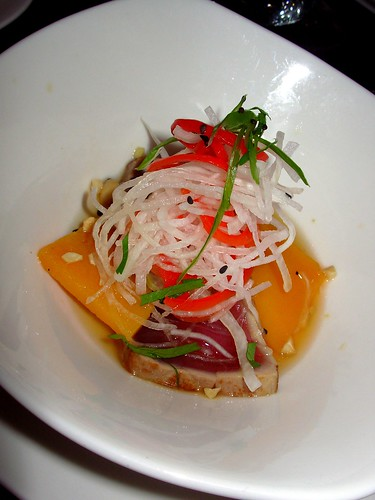 Seared tuna loin, sprouts, squash