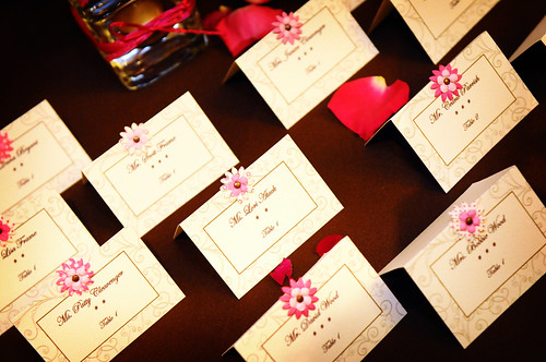 Place cards for wedding reception