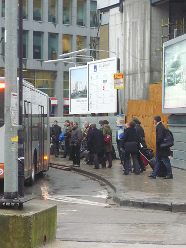 Queuing for the airport bus, Brussels