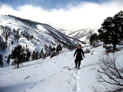 Amy Snowshoeing Baldy Green