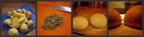 Potato Rosemary Bread Collage