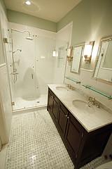 BK Limestone master bath after