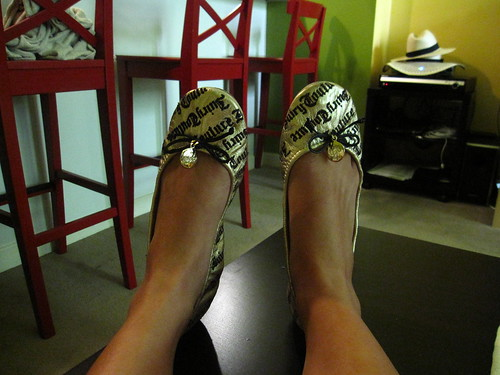 Foldable Gold Imprinted Ballerina Flats