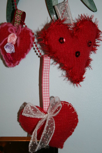 Trio of handcrafted felted hearts