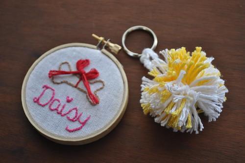 Daisy Embroidery/ Pom Keychain