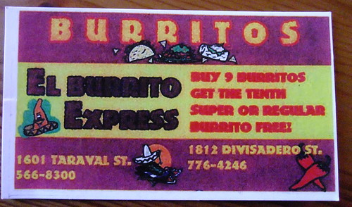 The El Burrito Express of The Outer Sunset Frequent Customer Stamp Card. 1