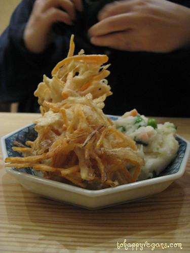 Vegetable kakiage tempura and potato salad.