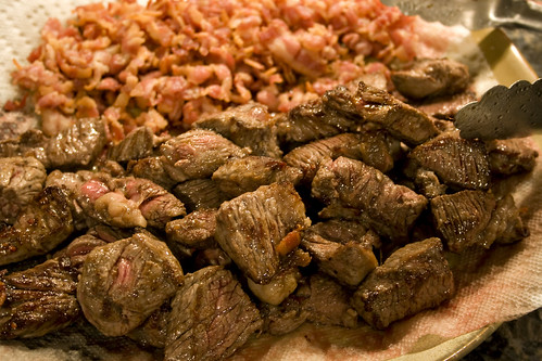 Browned beef and bacon.