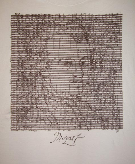 Mozarts portrait made of musical notes - an example of James Plakovic?s MusicArt