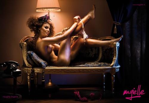 Lencería pícara de Magielle. Para algunos es más tabú la lencería pícara, que la propia desnudez (fijarse en detalle del pixelado).