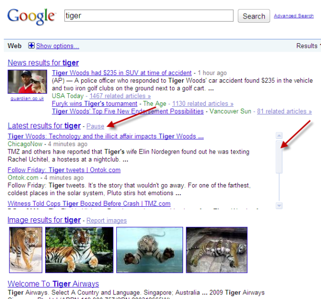 Google Real Time Search - Tiger Woods