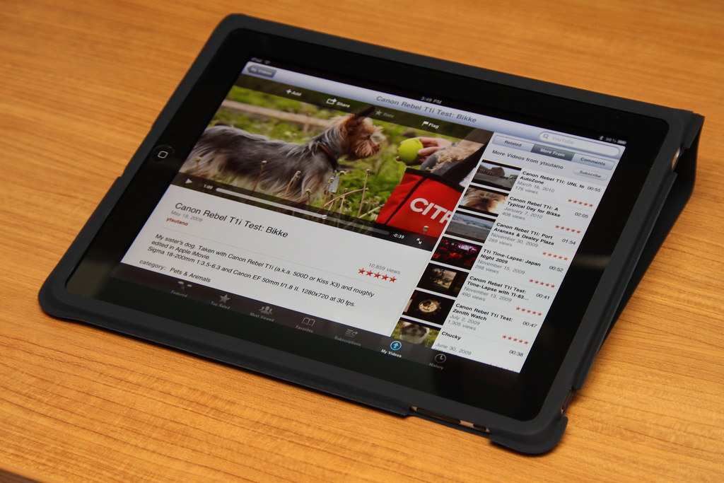 Image of an iPad open to a blog post
