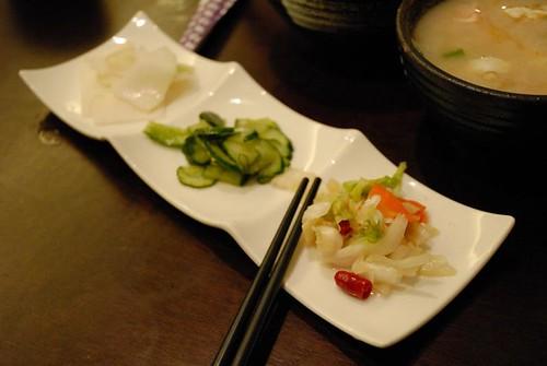 烤蝦定食的配菜