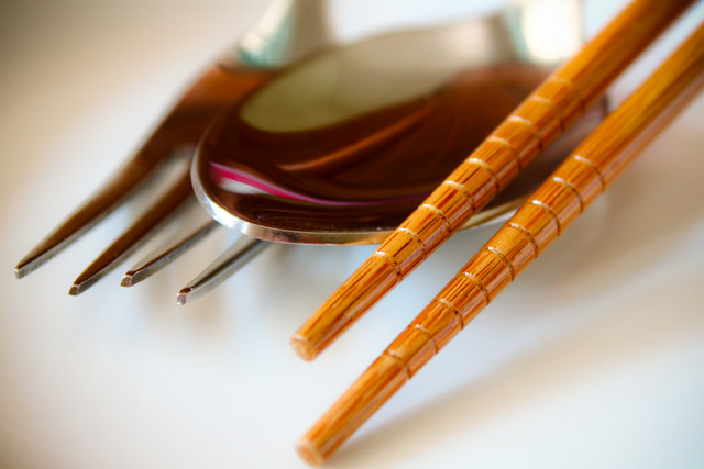 when chopstick meet fork & spoon