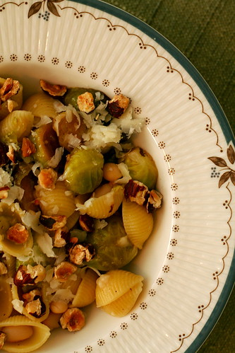 Pasta with Roasted Brussels Sprouts and Hazelnuts