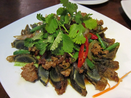 Fried Century Eggs and Minced Pork