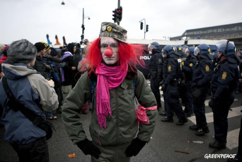 Clown doing his bit in front of police in Copenhagen