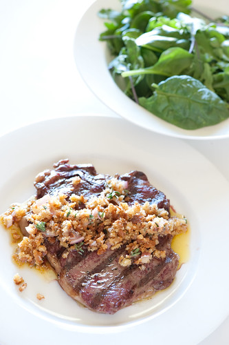 bbq steak with toasted breadcrumb salsa