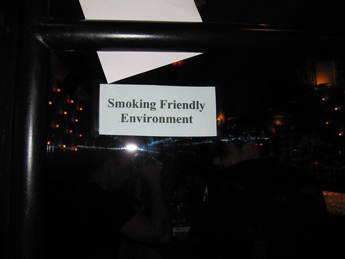 "One one of the pubs we passed had a 'bright' marketing ploy - an anti-campaign - ""Smoking Friendly environment""."
