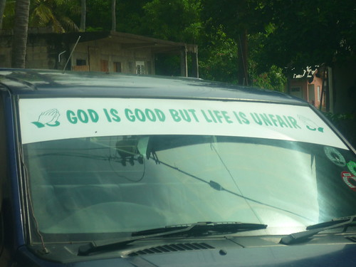 Slogan on minibus, St Kitts