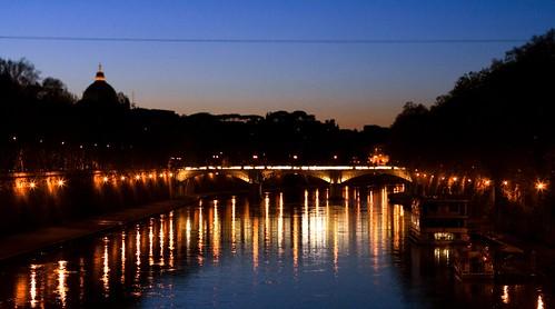 Ponte Sisto, bridge, Rome, Roma, Italy, Italia, Tiber, night, cityscape, tevere, river