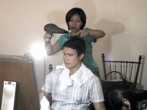 Sam Milby while being readied for his scene at Paseo del Sol
