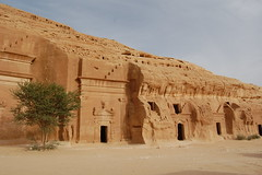 Ancient cave dwellings in Mada'in Saleh (Citie...