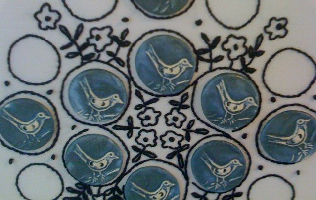 Button Embroidery: close up of birdie buttons