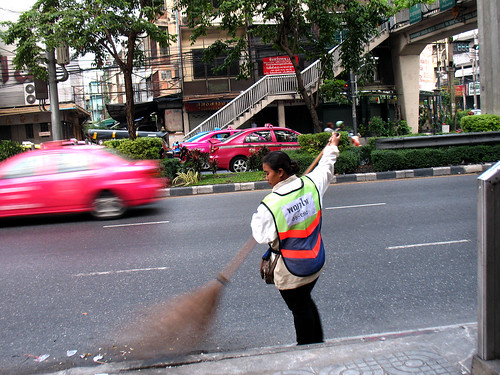 7:12 am, cleaning the streets