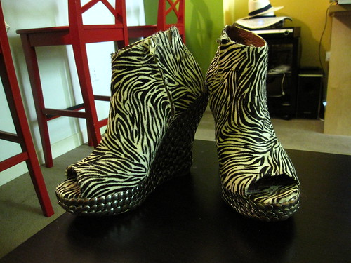 Wedge Booties in Zebra with Studs