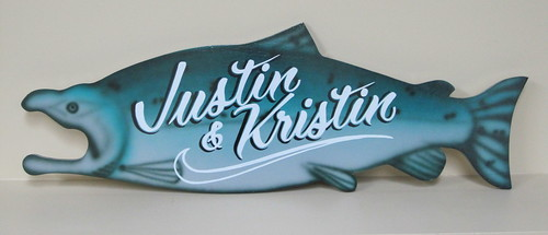 our custom fish sign our realtor gave us, LOVE IT!