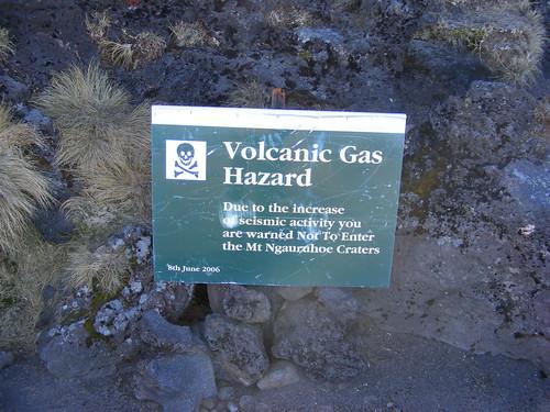 Volcanic Hazard Sign On the Tongariro Crossing