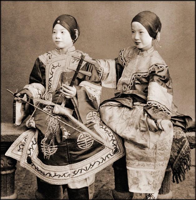 Singing Girls, Hong Kong, China [c1901] Benjamin W. Kilburn Co. [RESTORED]
