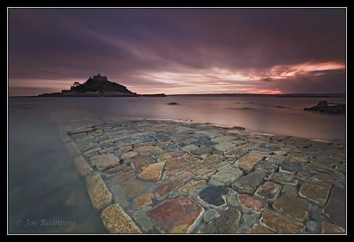 ocean longexposure sunset sky seascape water landscape rocks cornwall stones paving stmichaelsmount marazion