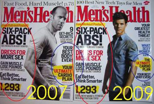 Men's Health plagieert zichzelf (vergelijking covers uit 2007 en 2009)