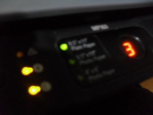 LEDs y display de una impresora