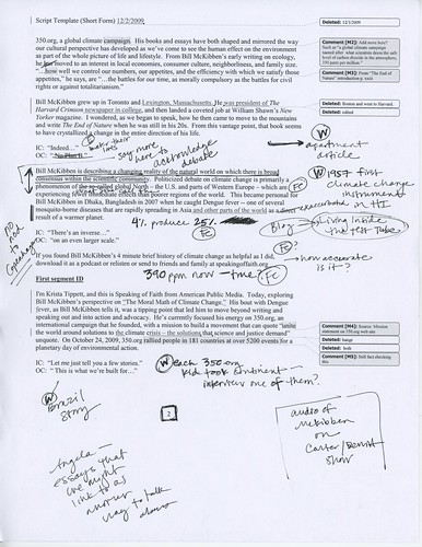 "Page of Annotated Script for ""The Moral Math of Climate Change"""