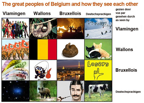 Vlamingen, Walen, Brusselaars en Duitstalige Belgen... over elkaar