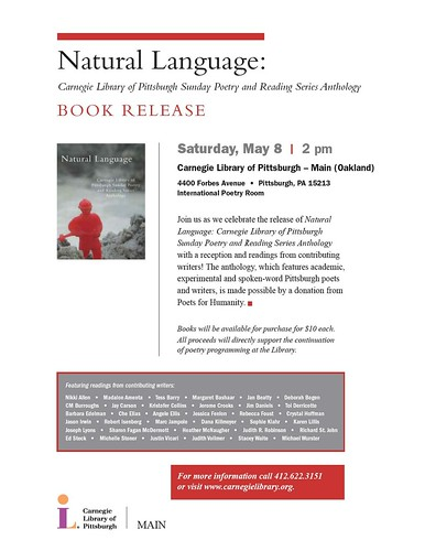 Natural Language: Carnegie Library of Pittsburgh Sunday Poetry and Reading Series Anthology reading and reception by Eleventh Stack.